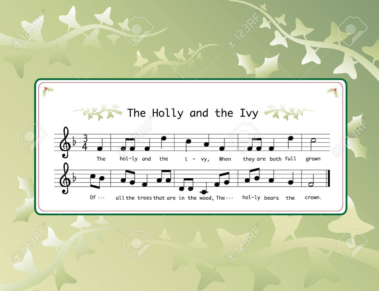 Christmas Carol Music.Music For The Christmas Carol The Holly And The Ivy On Background