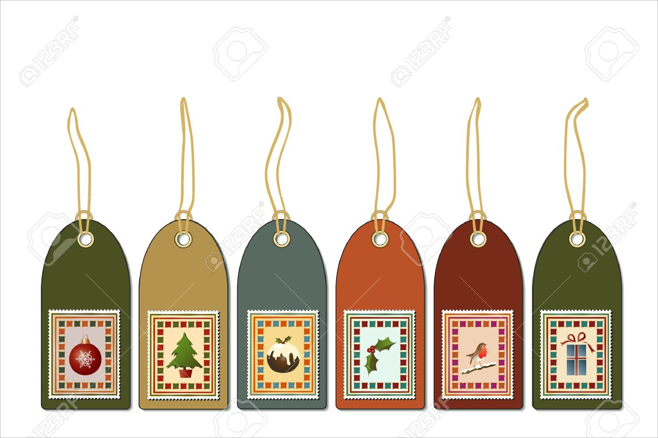 Christmas Gift Tags With Postage Stamp Icons. Vintage Style EPS10 ...
