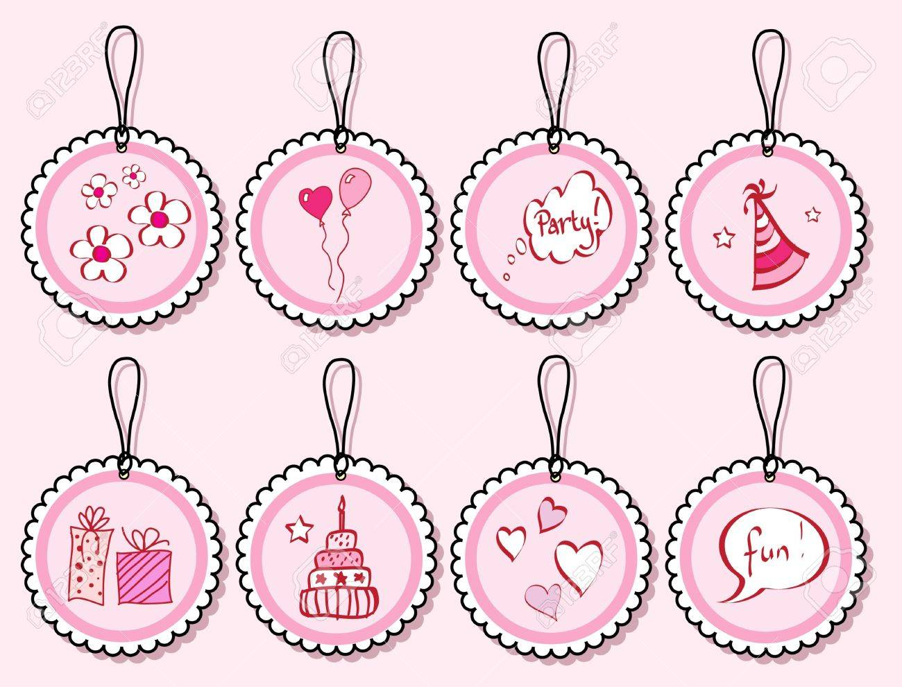 A set of birthday doodle gift tags in shades of pink. EPS10 vector format. Stock Vector - 10631593