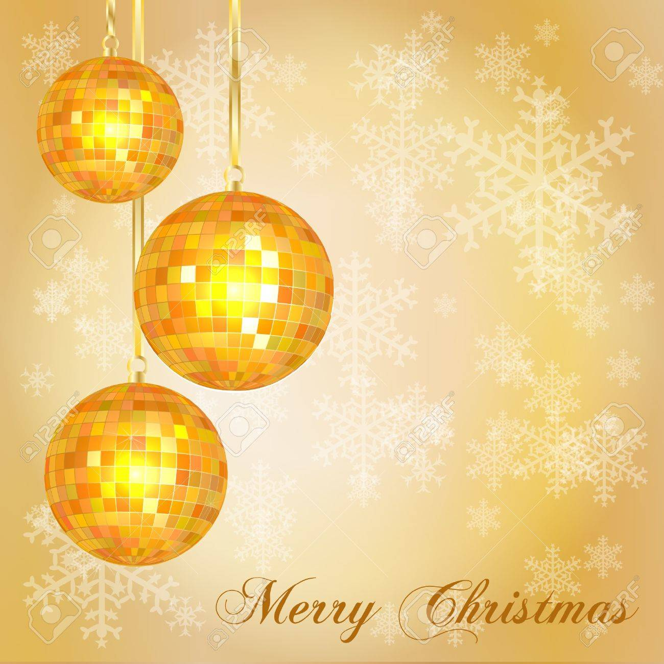 Christmas card template with vintage style disco balls and snowflake background. Space for your text. EPS10 vector format. Stock Vector - 10631690
