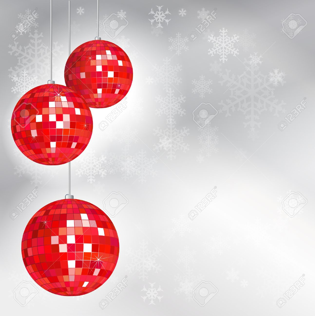 Christmas disco balls with snowflake background and space for your text. EPS10 vector format. Stock Vector - 10631696
