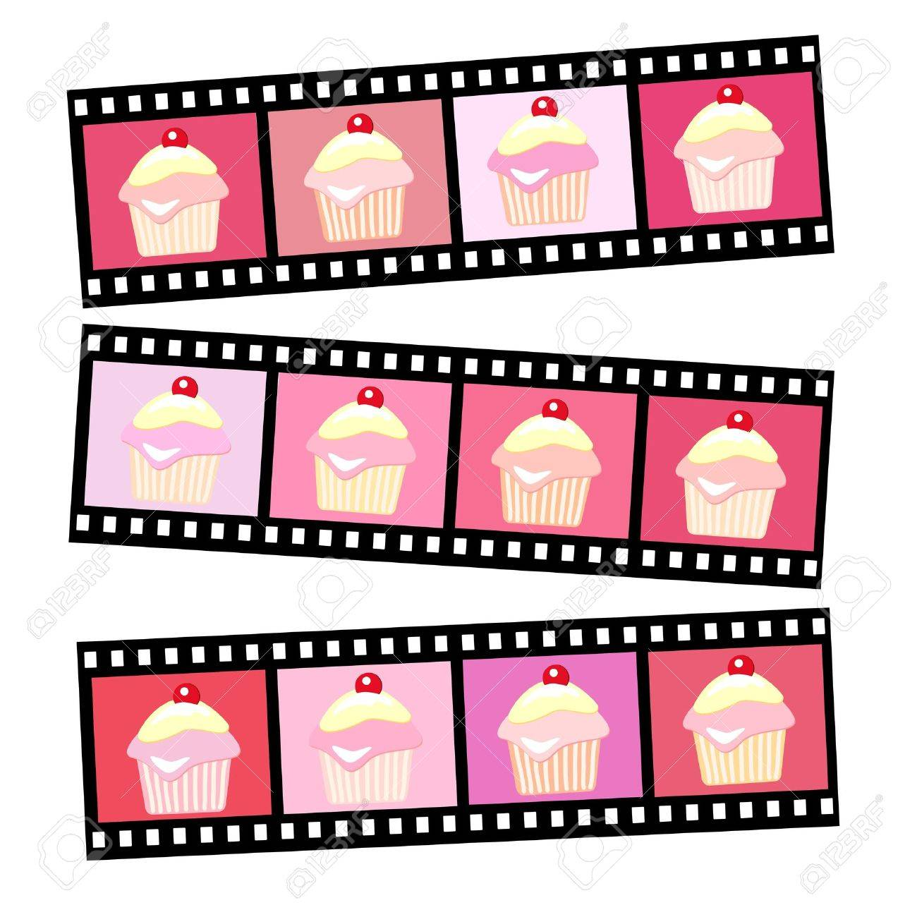 Photos of pink cherry cup cakes in various shades. EPS10 vector format. Stock Vector - 10631583