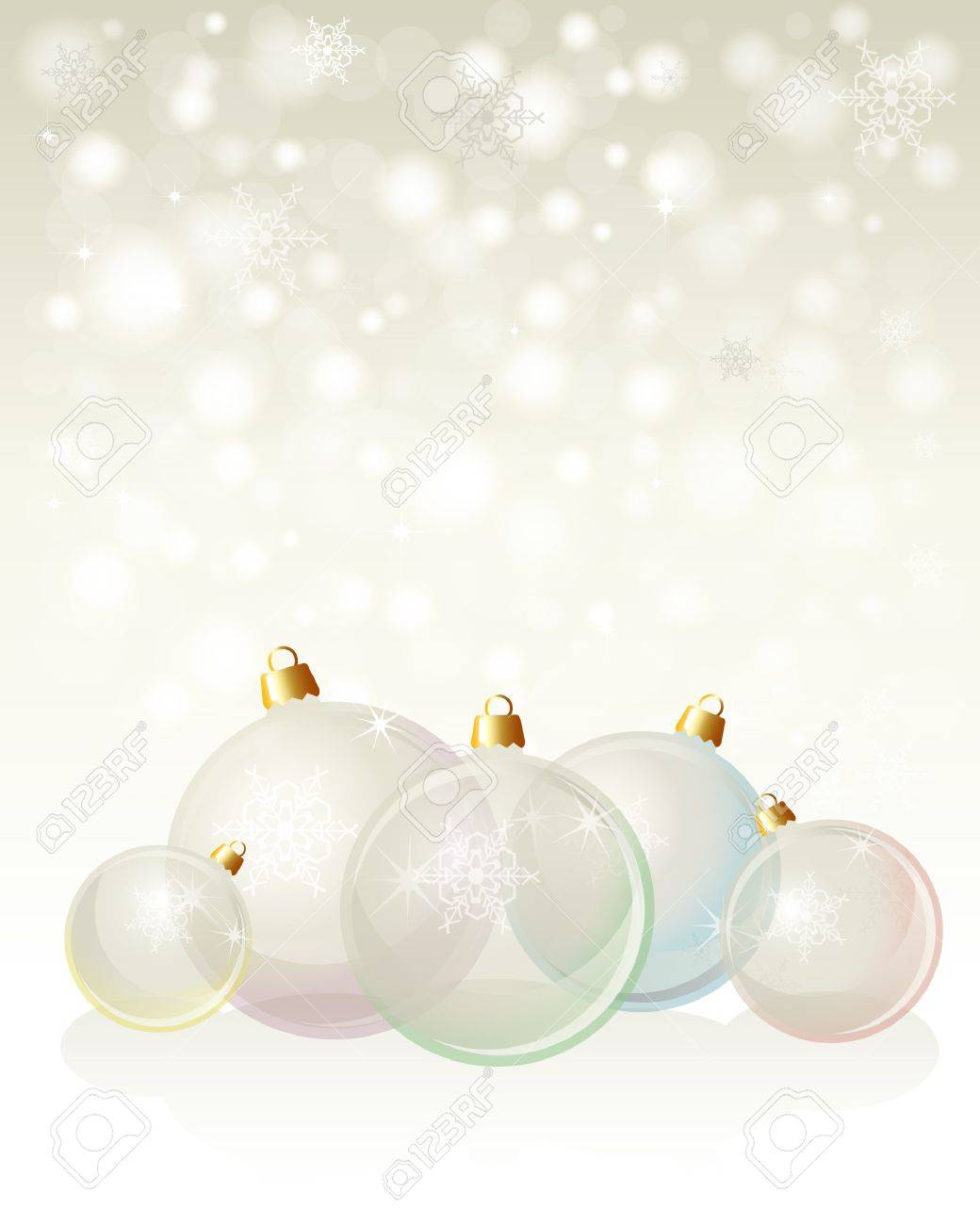 Glass Christmas baubles on snowflake background with space for your text. Neutral background with pastel, transparent glass baubles. EPS10 vector format. Stock Vector - 10631682