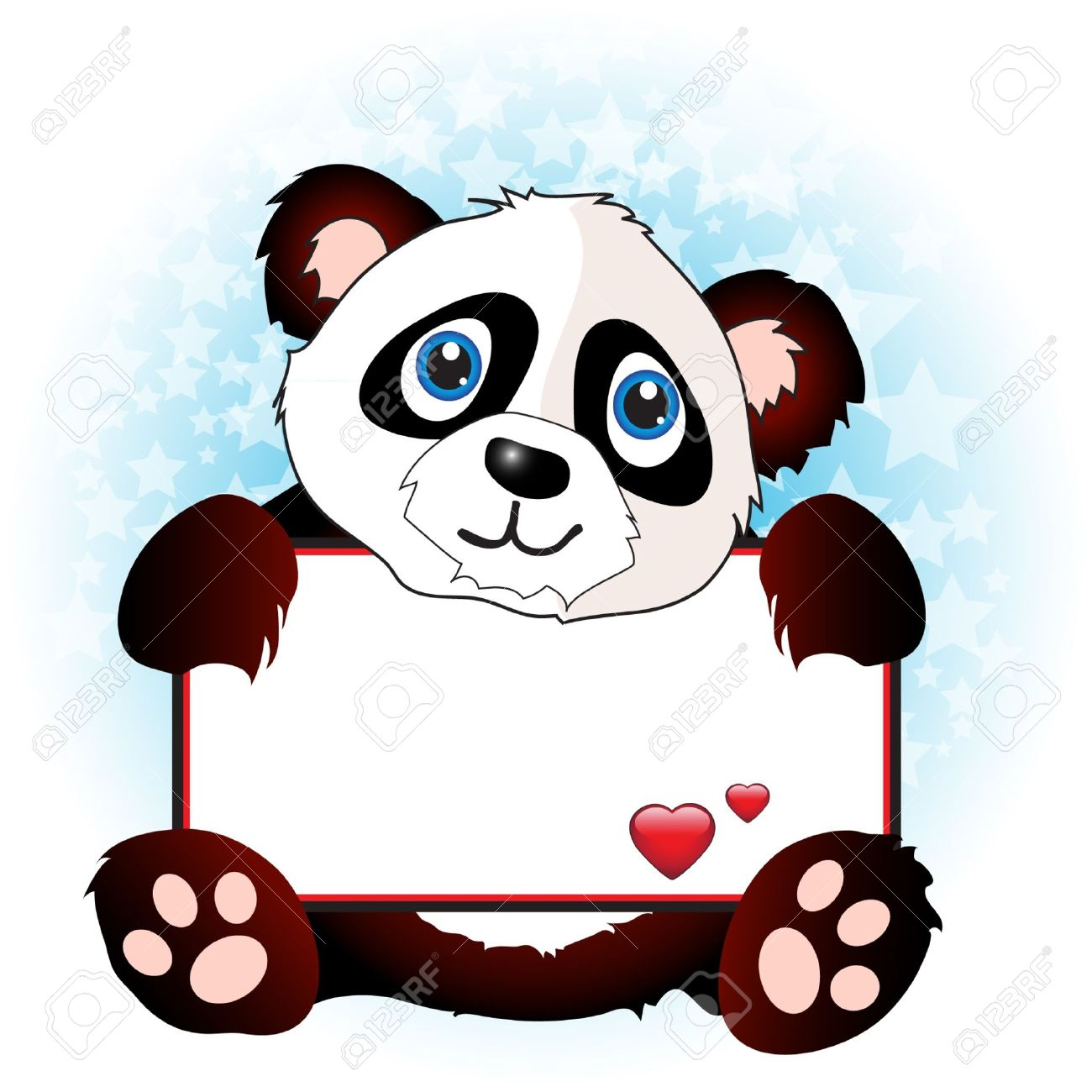 A cute cartoon panda holding a banner with hearts onsubtle star background. Space for your text. EPS10 vector format Stock Vector - 10631584