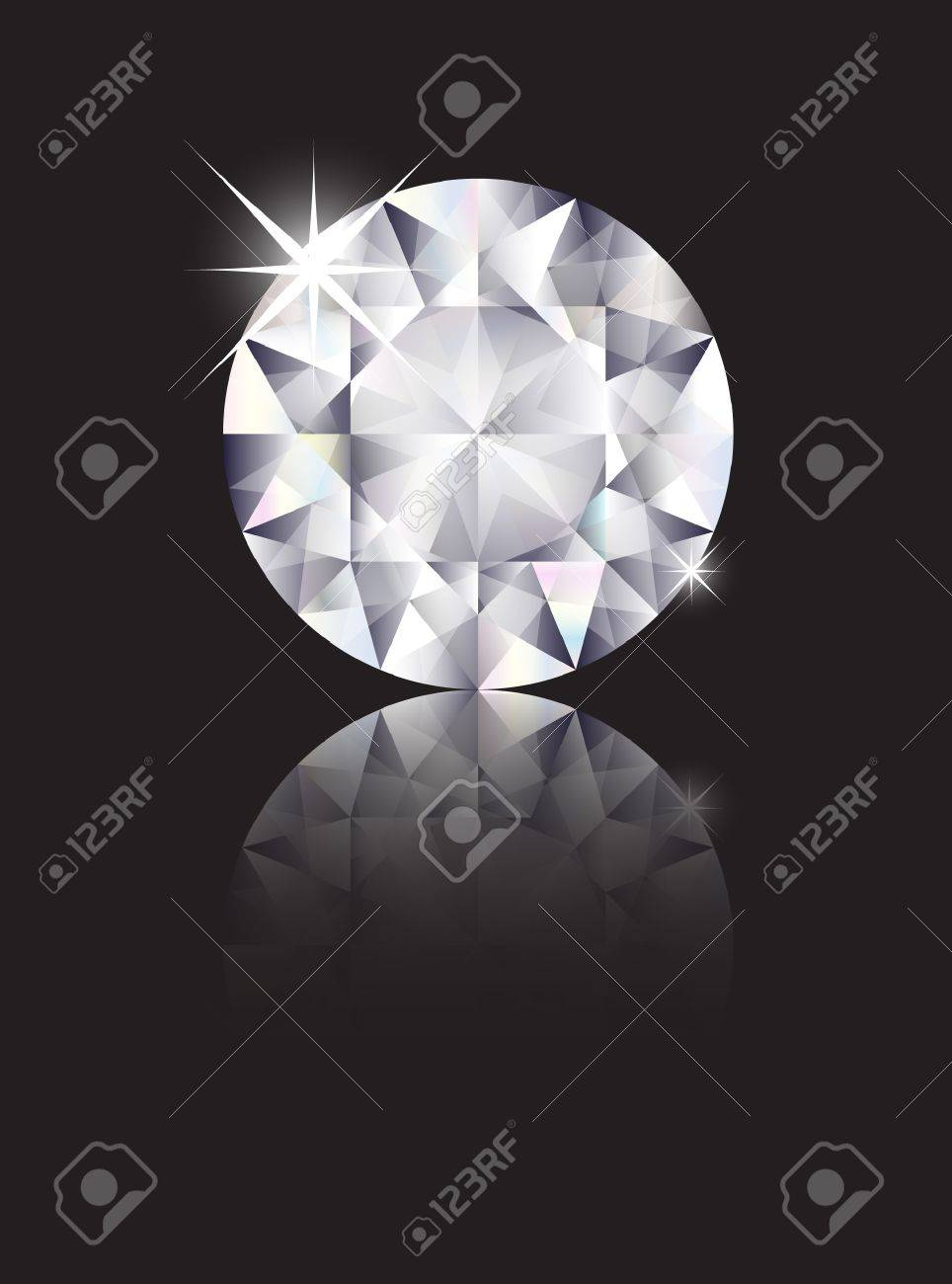 A brilliant cut diamond isolated on black with reflection. Space for text. EPS10 vector format Stock Vector - 10631729
