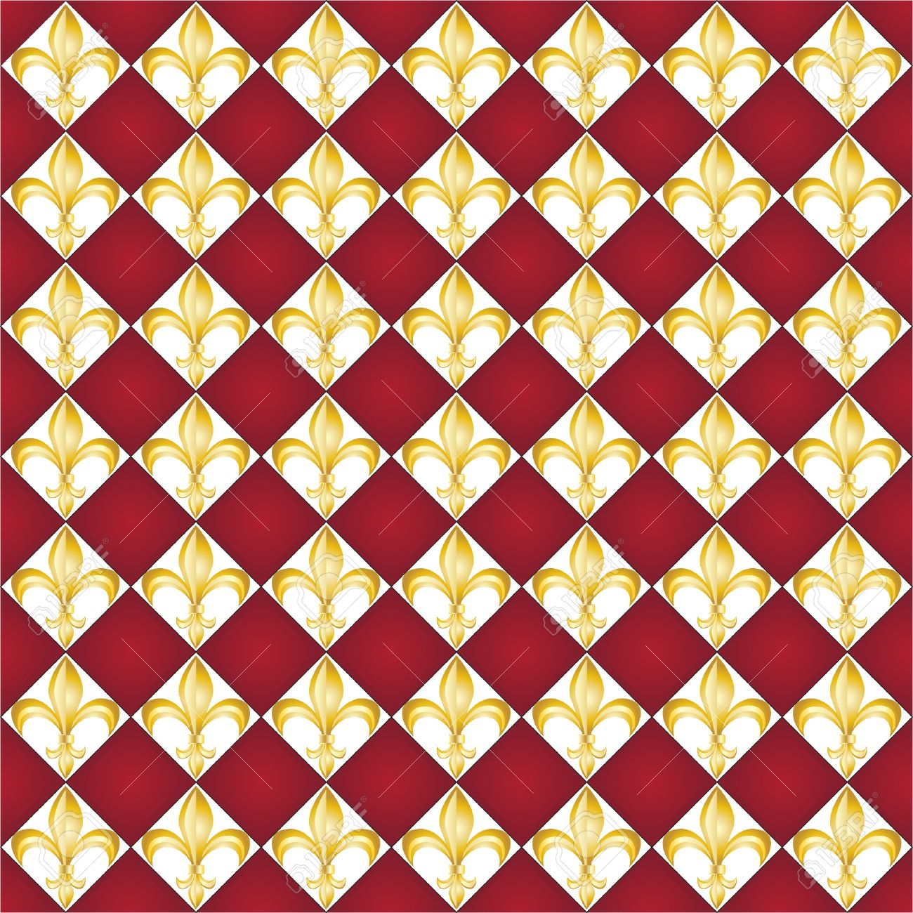 a seamless pattern of fleur de lys tiles on red background royalty
