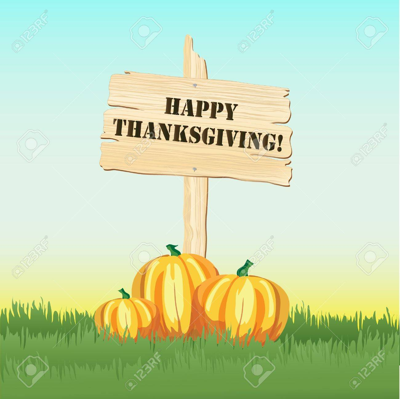 Happy Thanksgiving message on post with pumpkins under Stock Vector - 10631598