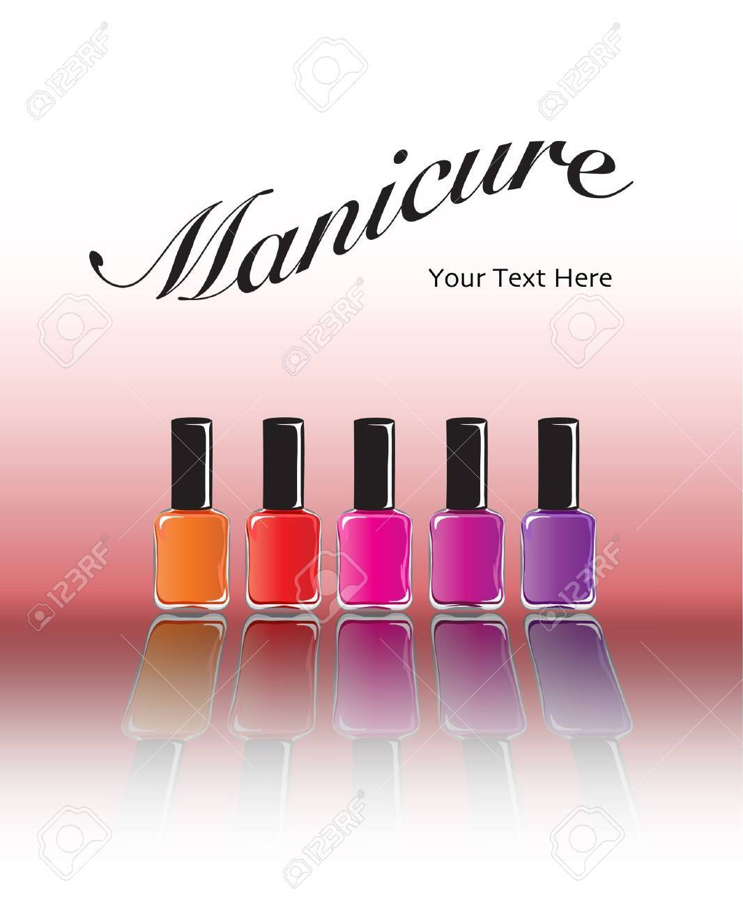 Bottles of nail polish in various shades with reflection. Manicure concept with space for text. EPS10 vector format. Stock Vector - 10631646