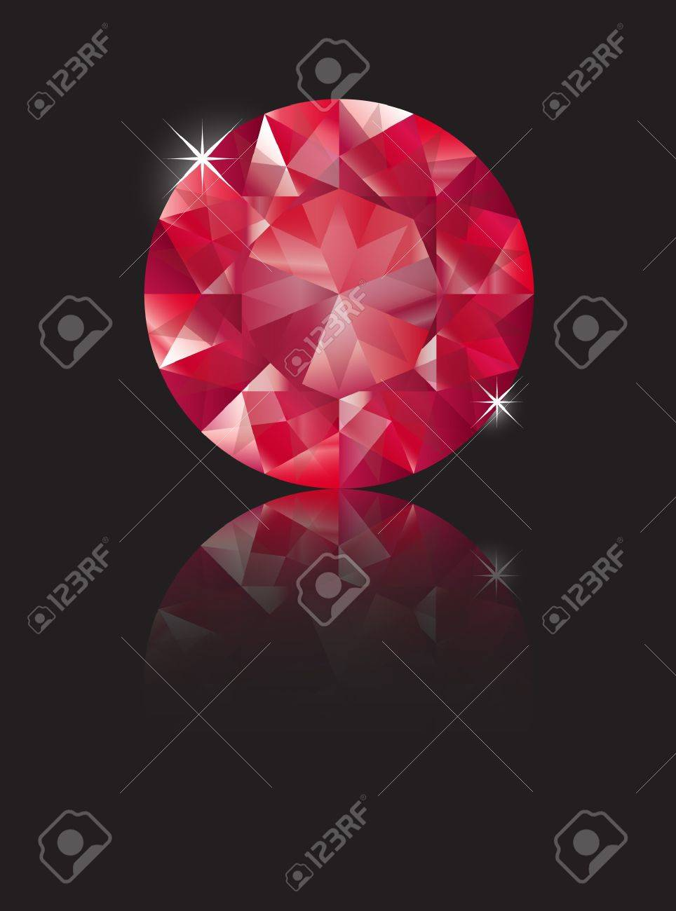A brilliant cut ruby isolated on black with reflection. Space for text. EPS10 vector format Stock Vector - 10631694