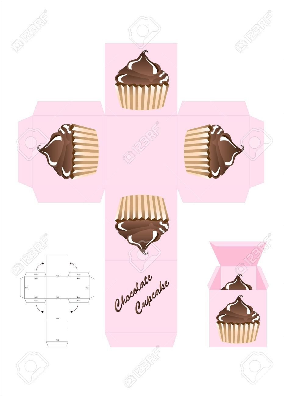 A Template For A Cupcake Gift Box. EPS10 Vector Format. Royalty Free ...