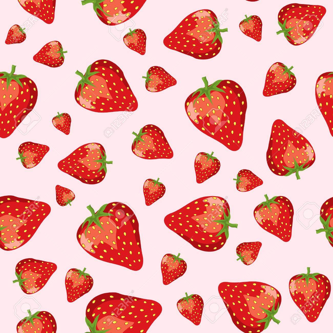A seamless vector of ripe strawberries on pink background. EPS10. Stock Vector - 10645677