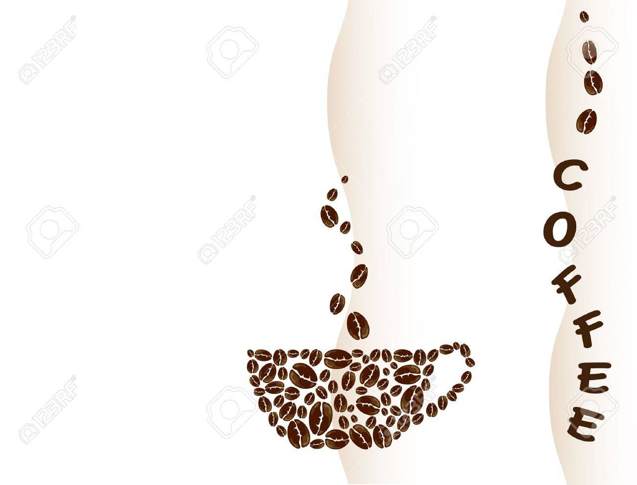 A vector illustration of a coffe cup created with coffe beans. Space for text. Stock Vector - 10767159