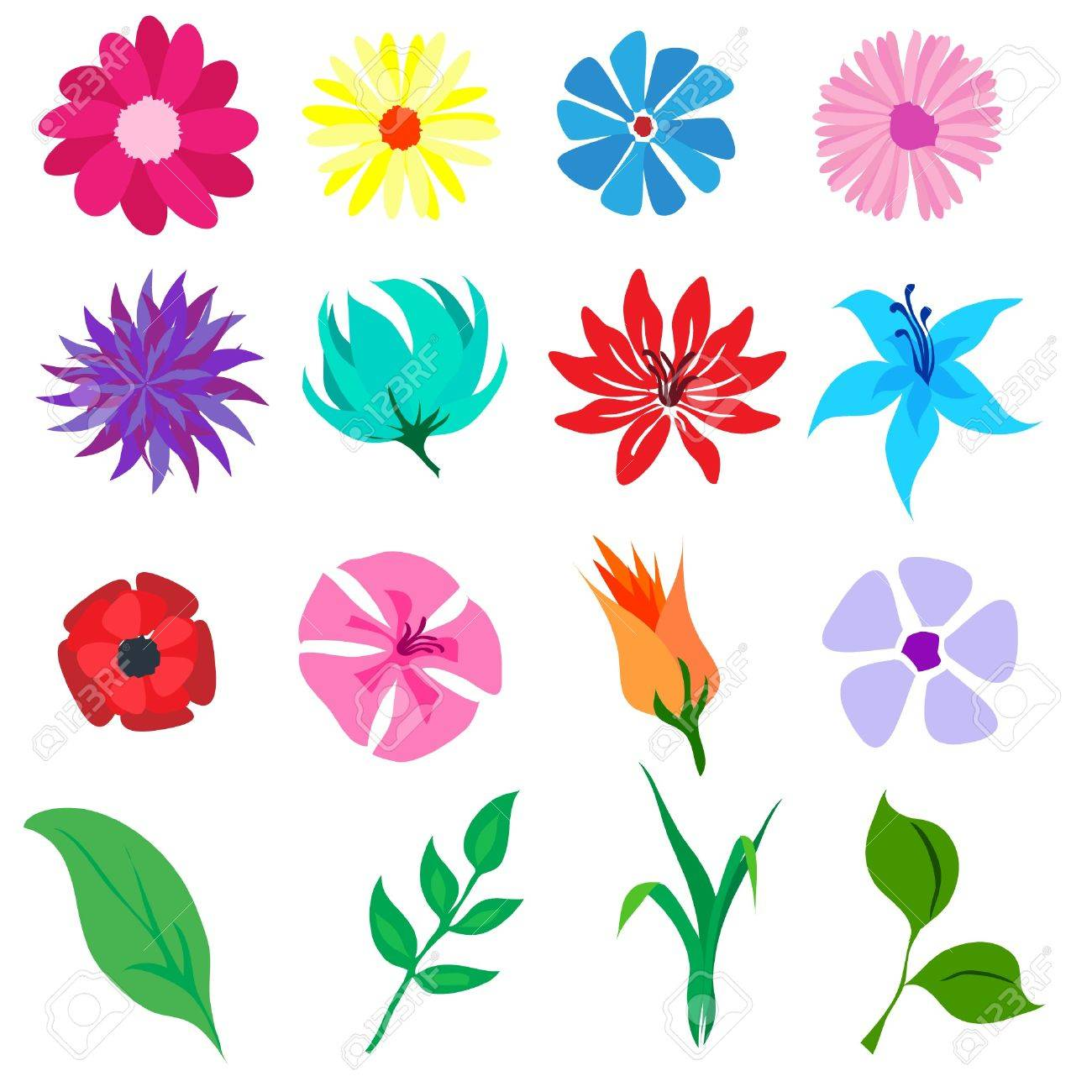 A vector illustration of flowers and leaves isolated on white Stock Vector - 10767153
