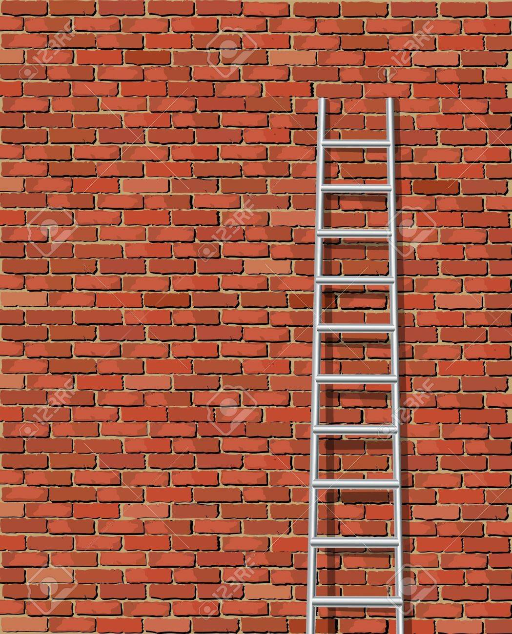 A Vector Illustration Of A Ladder Against And Old Wall Royalty ...