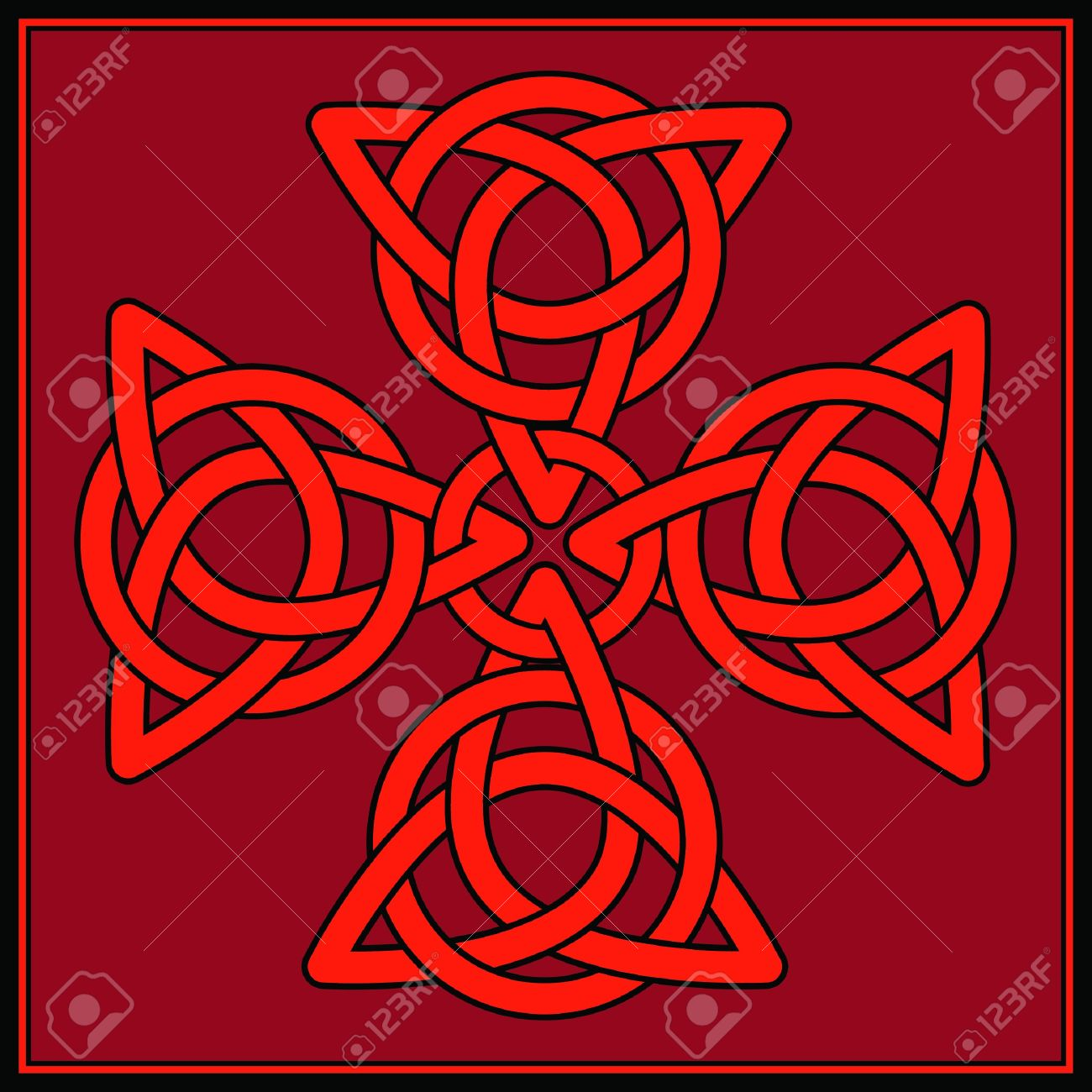 a cross formed of celtic knots in shades of red and black royalty