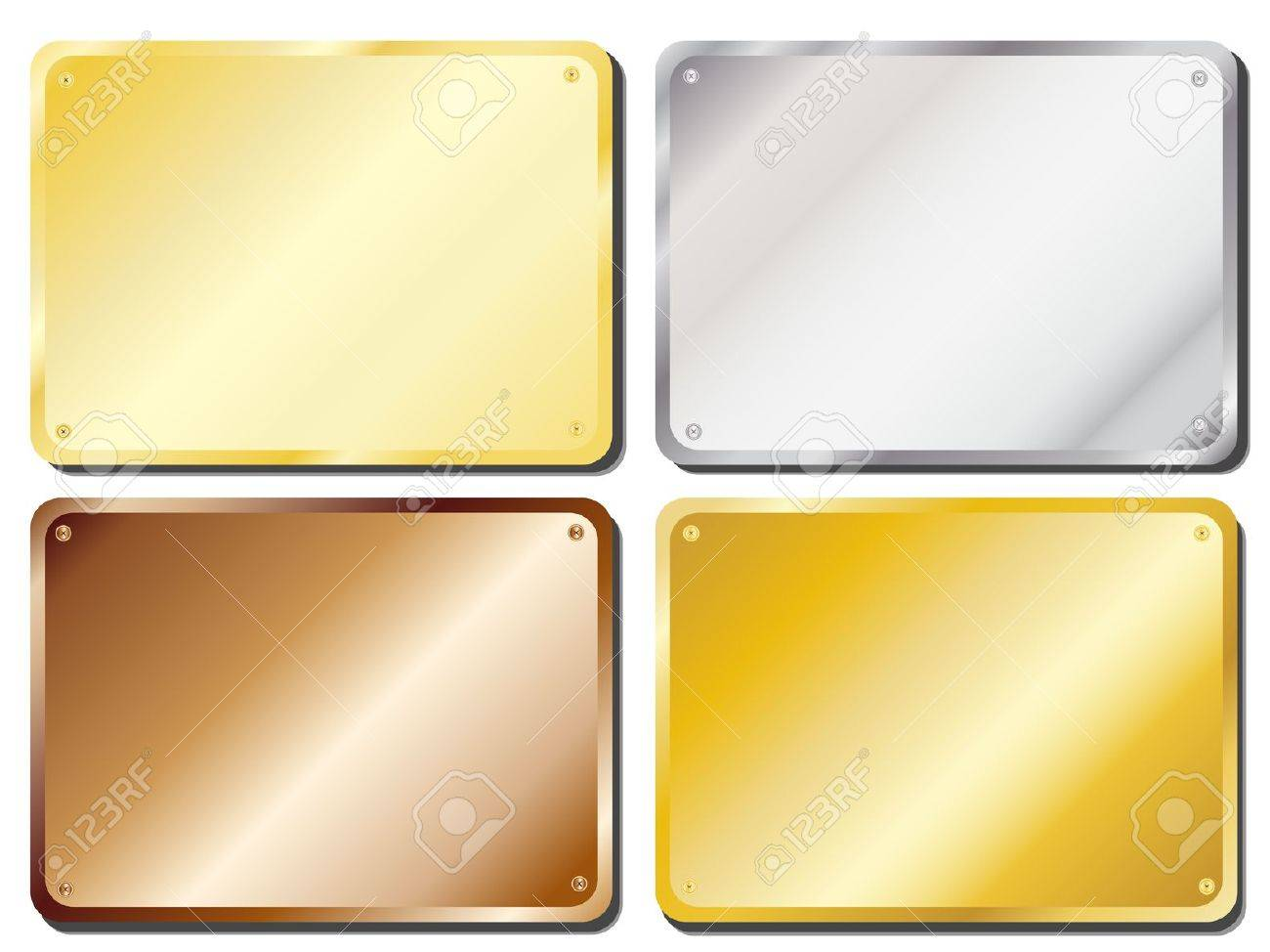 Picture of: Vector Illustration Of Metal Door Plaques In Gold Silver Brass Royalty Free Cliparts Vectors And Stock Illustration Image 10837588