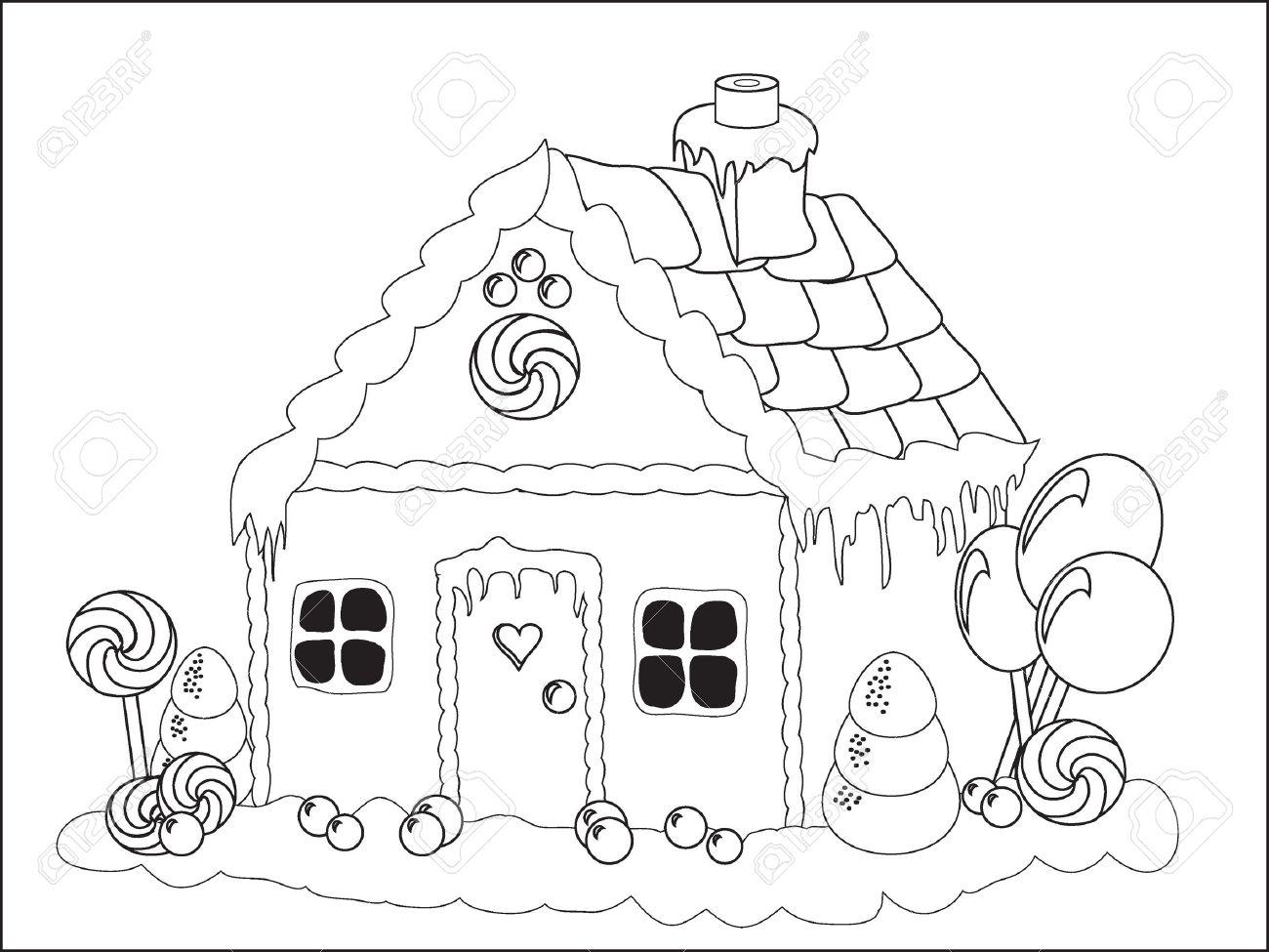 Vektor-Illustration. Ein Lebkuchenhaus Färbung Seite Lizenzfrei ...
