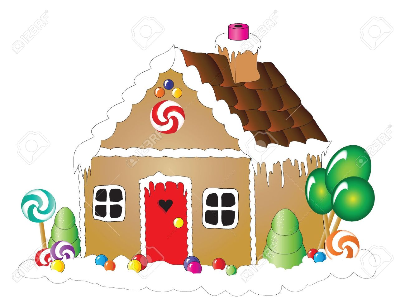 Vector illustration of a gingerbread house against white background Stock Vector - 10837575