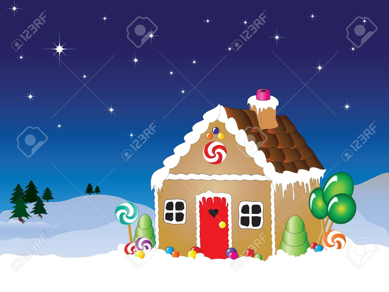House Snow Scenes House Snow Scene With Star