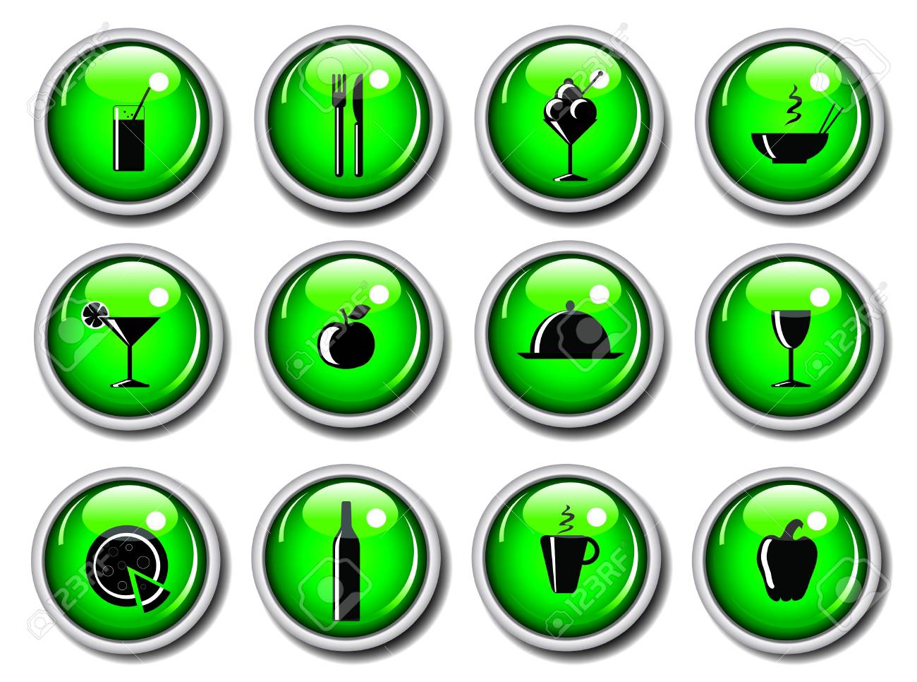A vector illustration of a set of food icons on glossy web buttons Stock Photo - 10837590