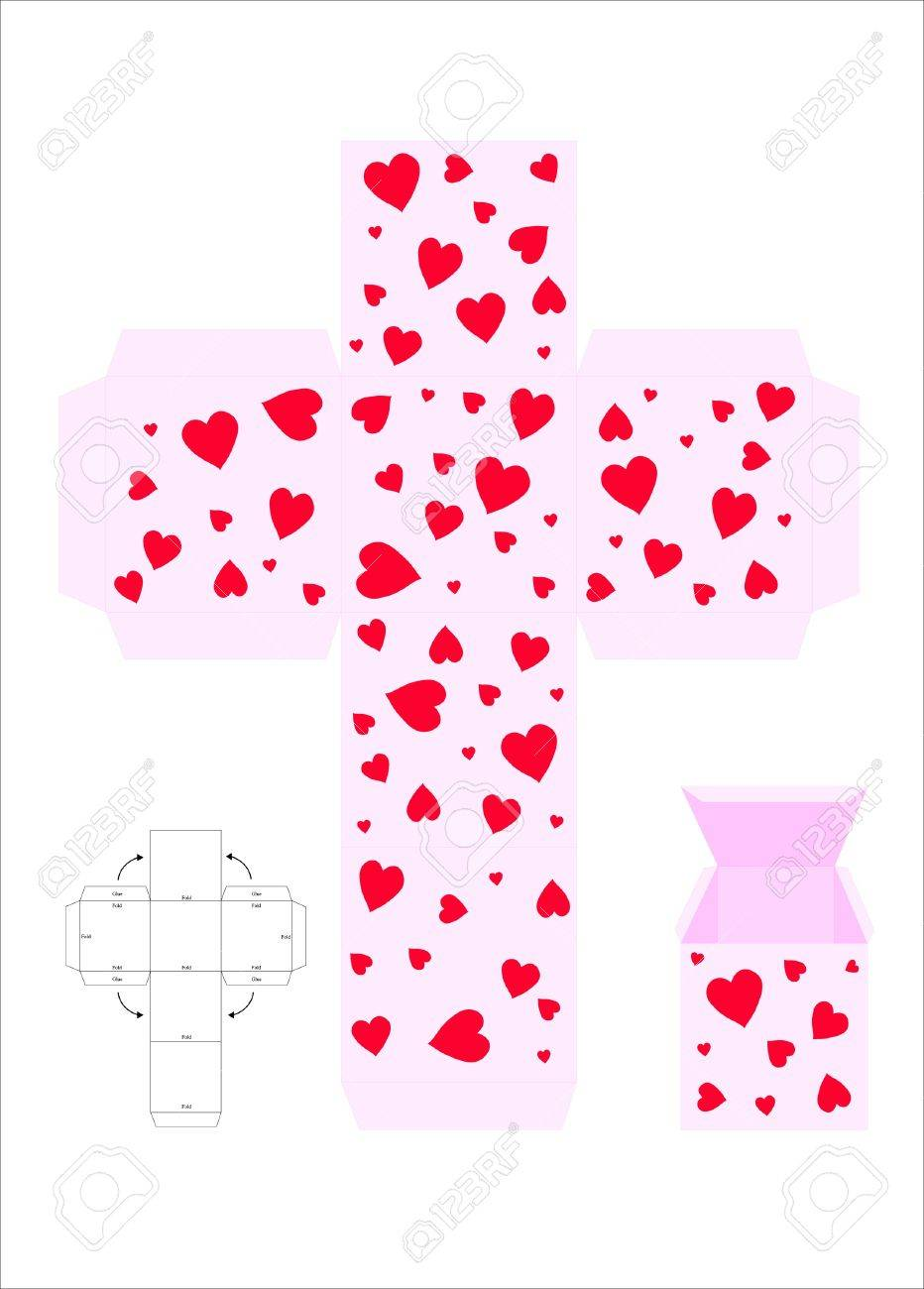 A Vector Illustration Template For Creating A Valentine Gift – Template for Gift Boxes