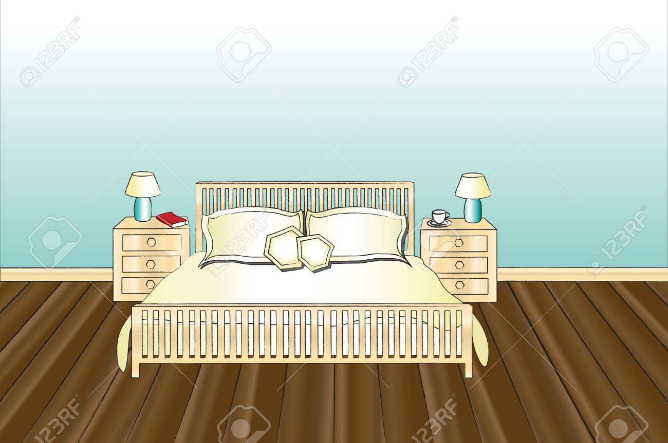 A vector illustration of a bedroom with space for text Stock Vector - 10877236