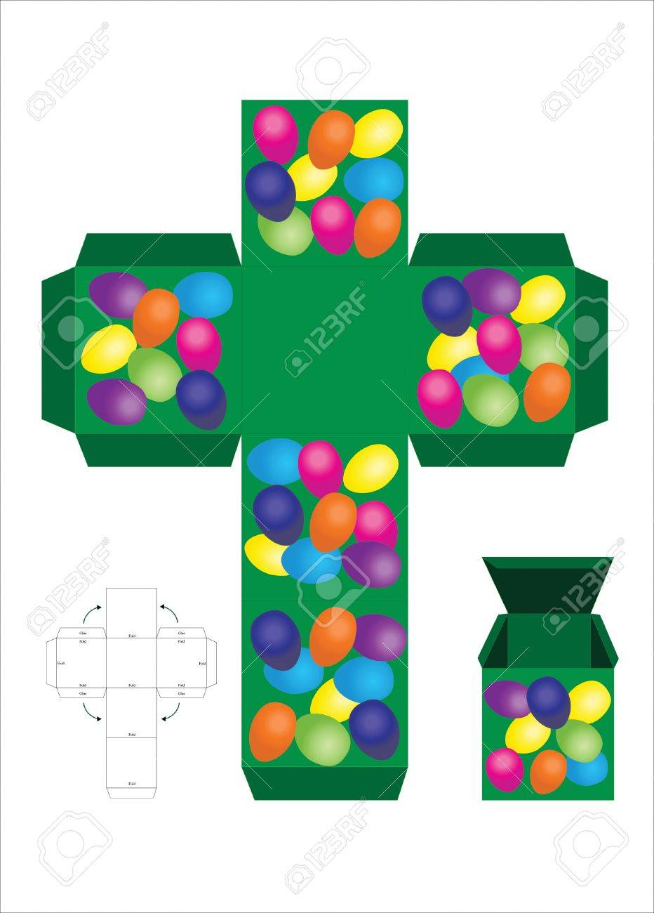 a vector illustration of an easter treat gift box template royalty