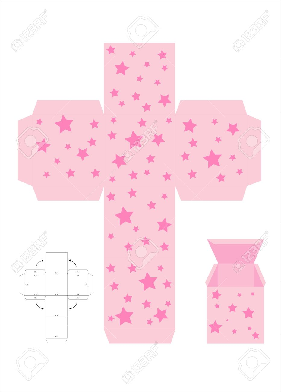 A Vector Illustration Of A Template For Creating A Gift Box ...