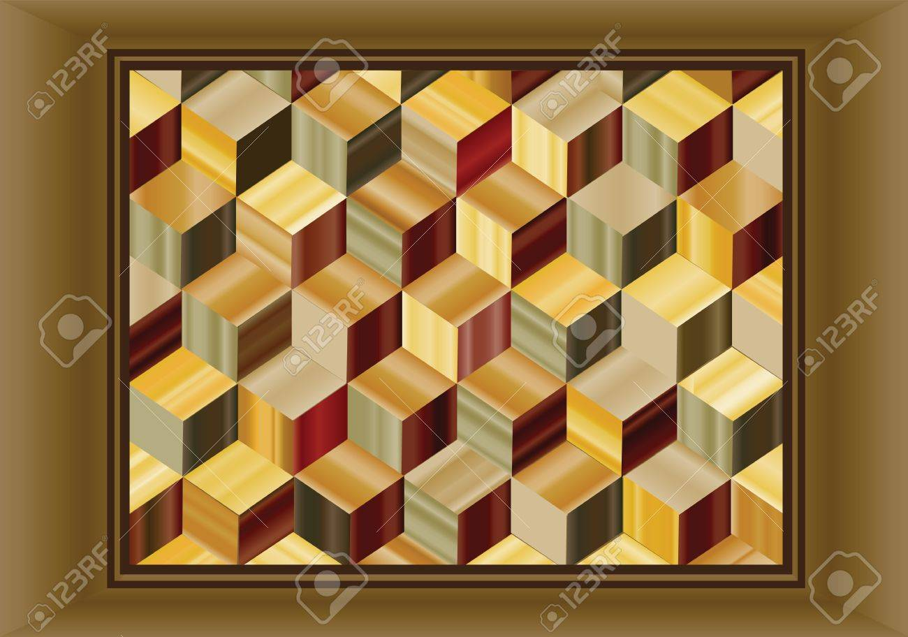 Vector Illustration Depicting A Marquetry Design Of Repeating