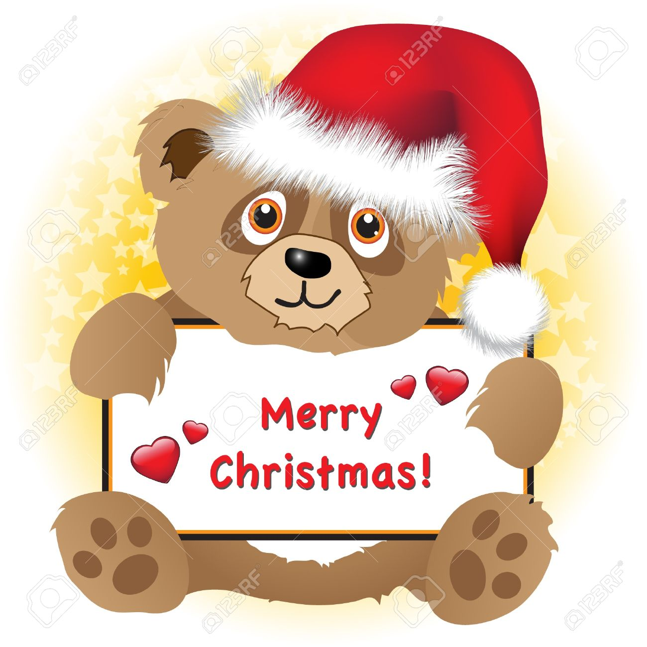 A cute cartoon Christmas bear with Santa hat holding a Merry Christmas banner with hearts Subtle star background. Stock Vector - 11031689