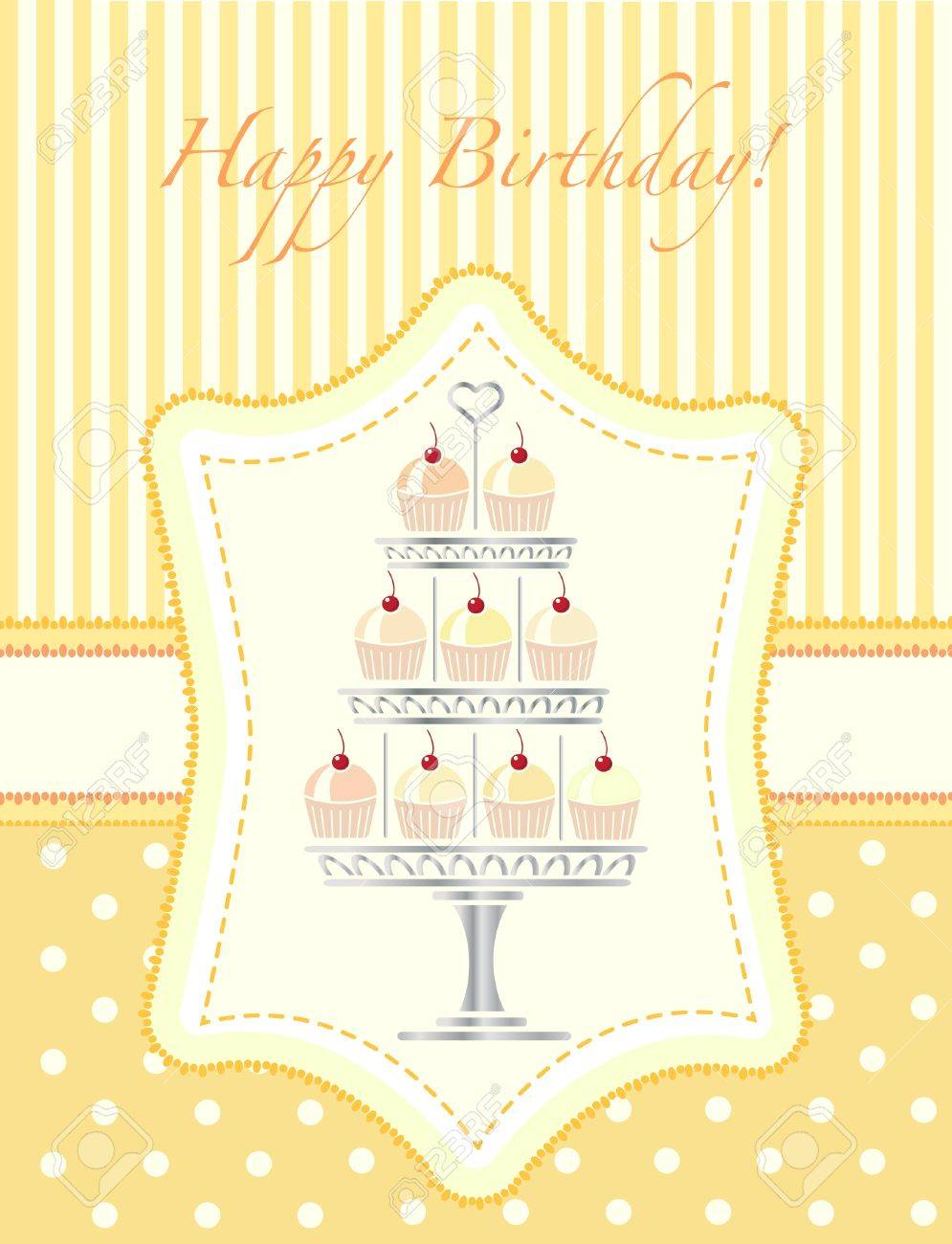 A Stencil Style Silver Cake Stand Full Of Cherry Cupcakes – Birthday Cake Card Template