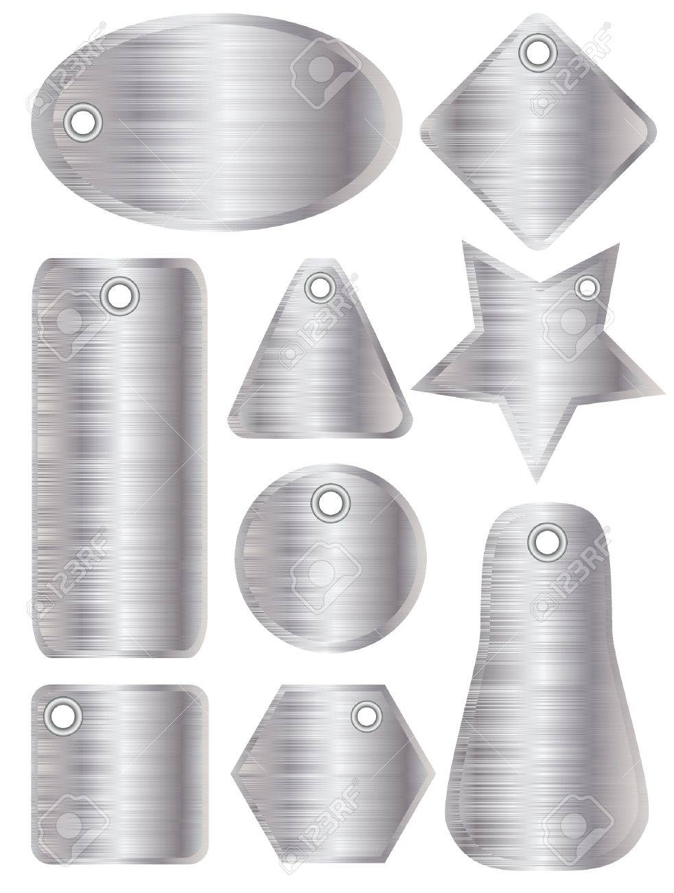 A illustration of brushed metal tags with silver finish Stock Vector - 11031914