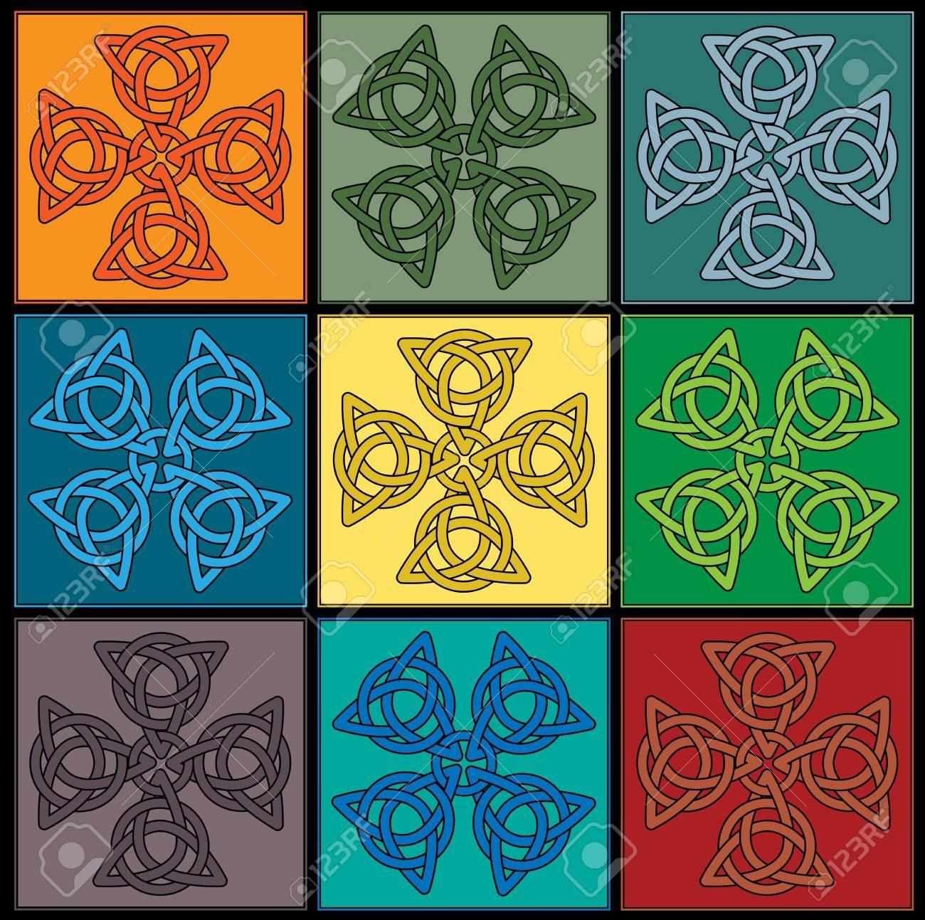 azulejos de colores crean nudo celta cruces foto de archivo