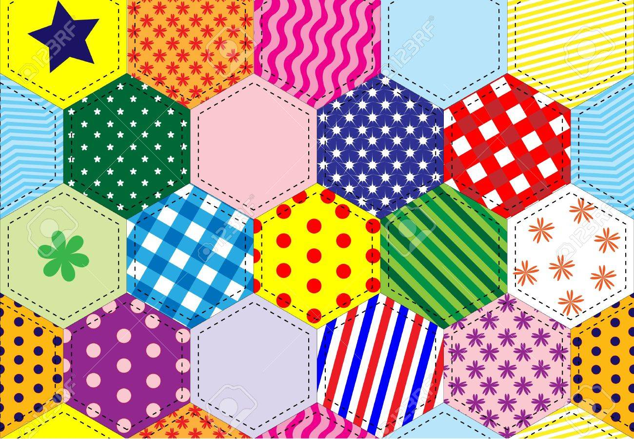 A Illustration Of A Patchwork Quilt Background In Bright Colours ... : colourful patchwork quilt - Adamdwight.com