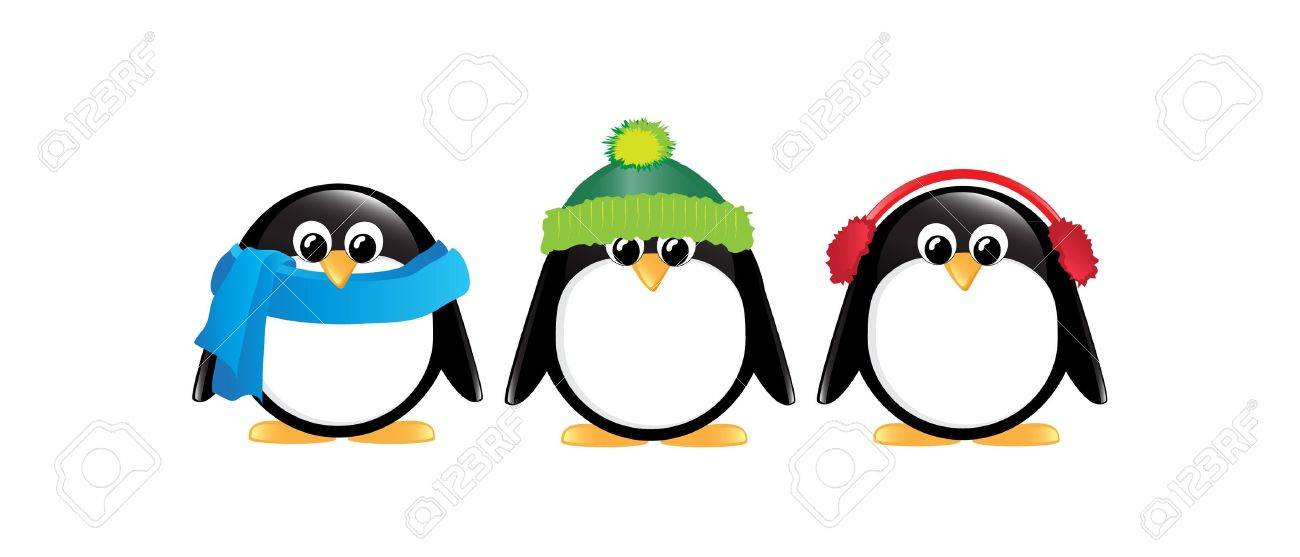winter cartoon penguins isolated on white royalty free cliparts