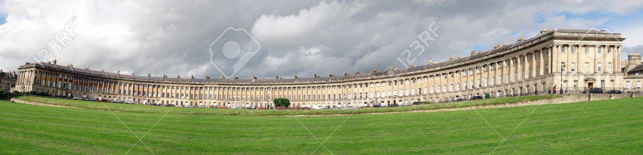 A panorama of Royal Crescent, Bath showing typical Georgian architecture Stock Photo - 11886720