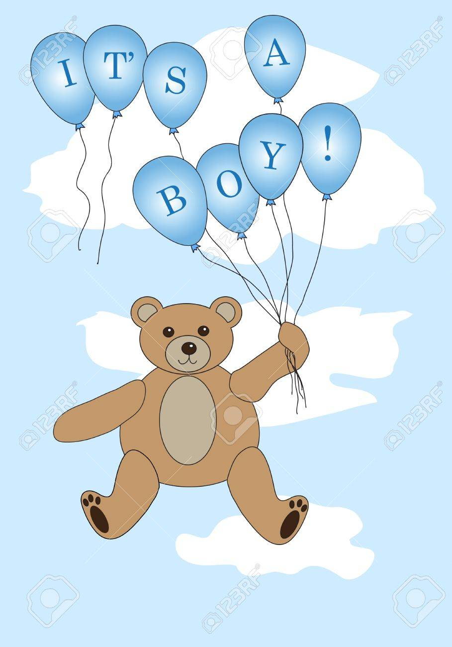 Vector: Teddy bear floating with balloons spelling Stock Vector - 12235513