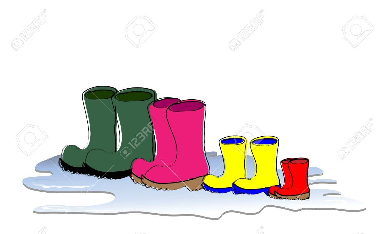 Boots fashion pic boots clip art - Colorful Clothes Fashion A Row Of Welligton Boots Drying Family Sizes Father