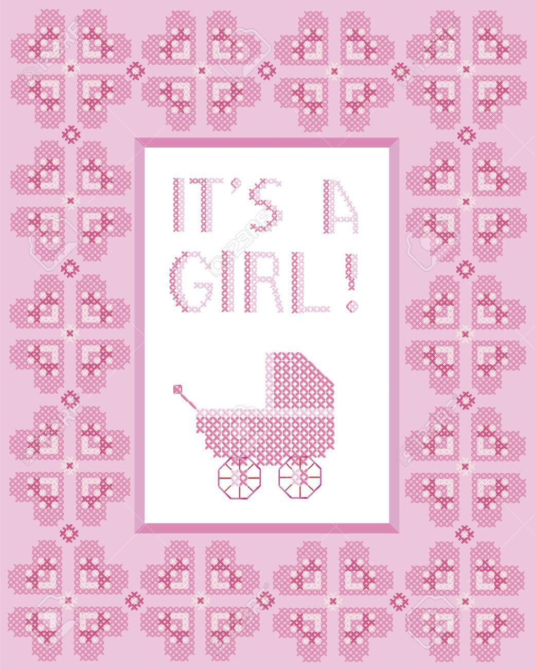Es Ist Ein Mädchen Kreuzstich-Rahmen Mit Herzen Und Kinderwagen ...