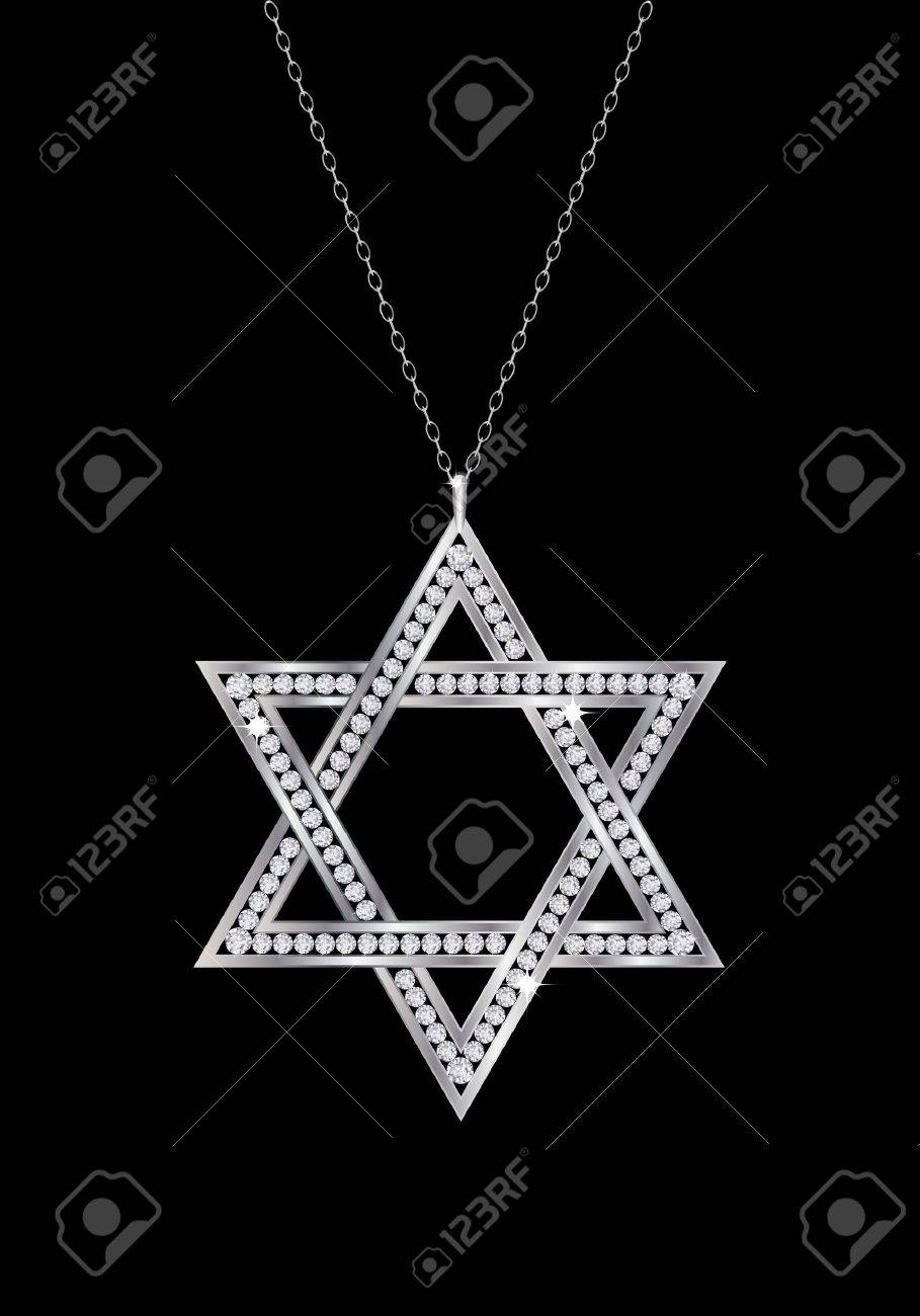 A diamond Star of David necklace on chain. Isolated on black background. EPS10 vector format. Stock Vector - 15649287