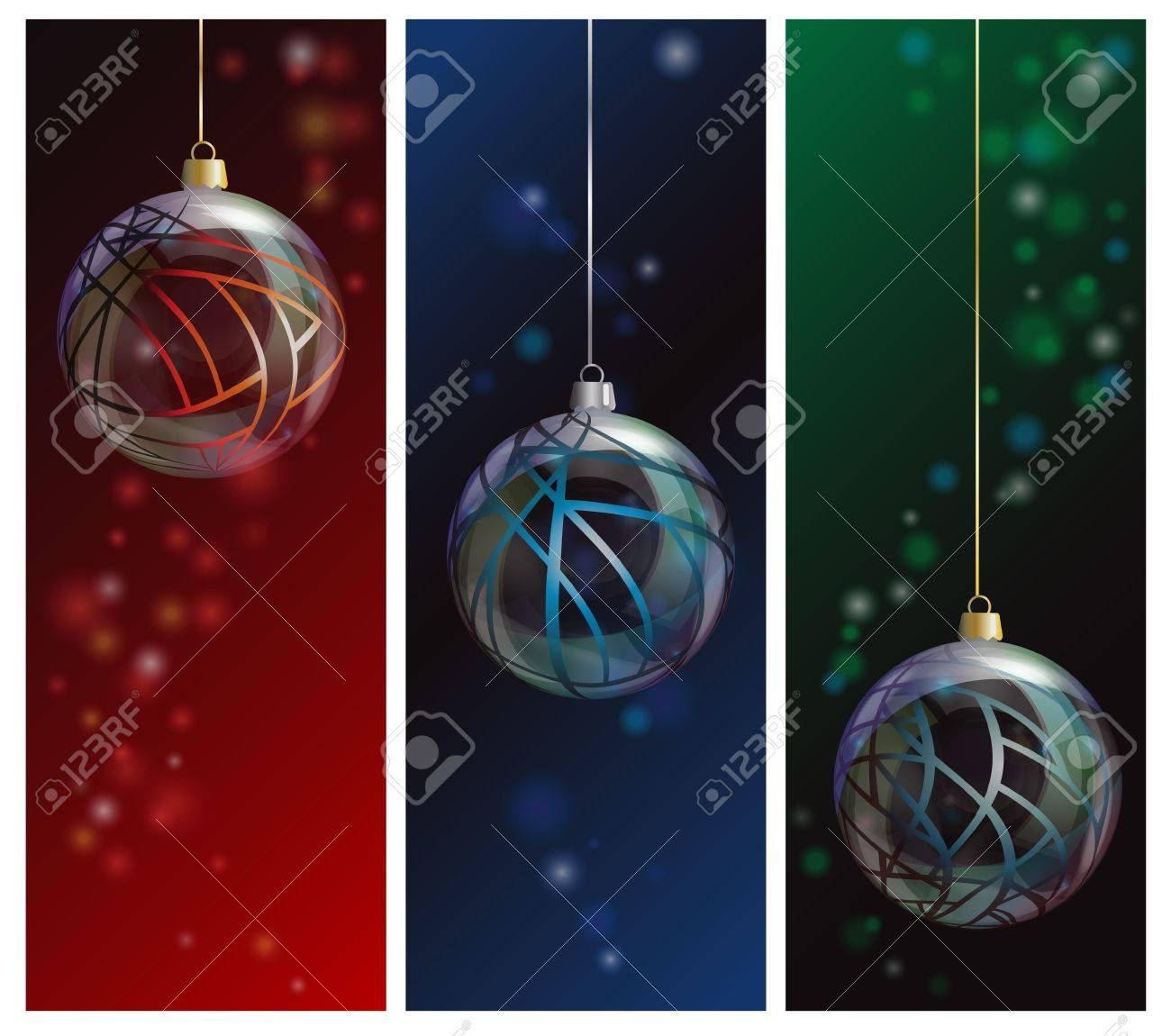 Three elegant glass Christmas bauble banners on bokeh backgrounds. EPS10 vector format. Stock Vector - 15649291
