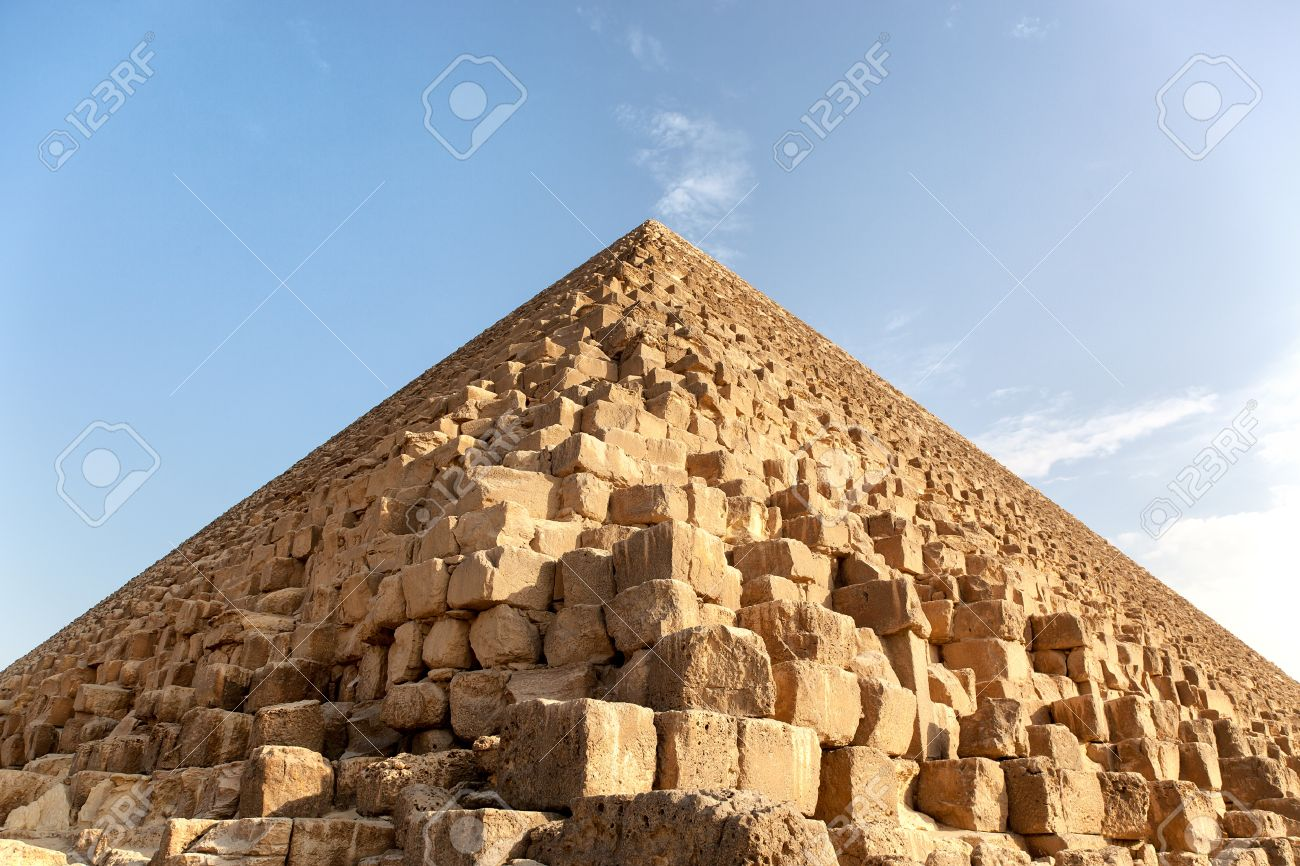 Closeup detail of a Pyramid, Giza, Egypt, against blue sky The
