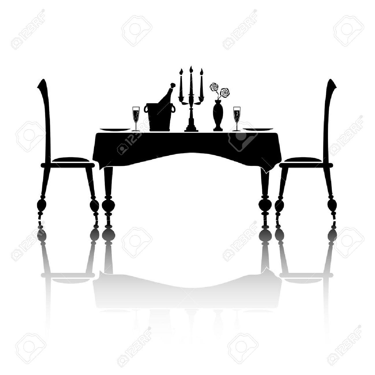 Silhouette eines romantischen gedeckten Tisch für zwei Personen. Schwarz und weiß mit Reflexion und Platz für Ihren Text.