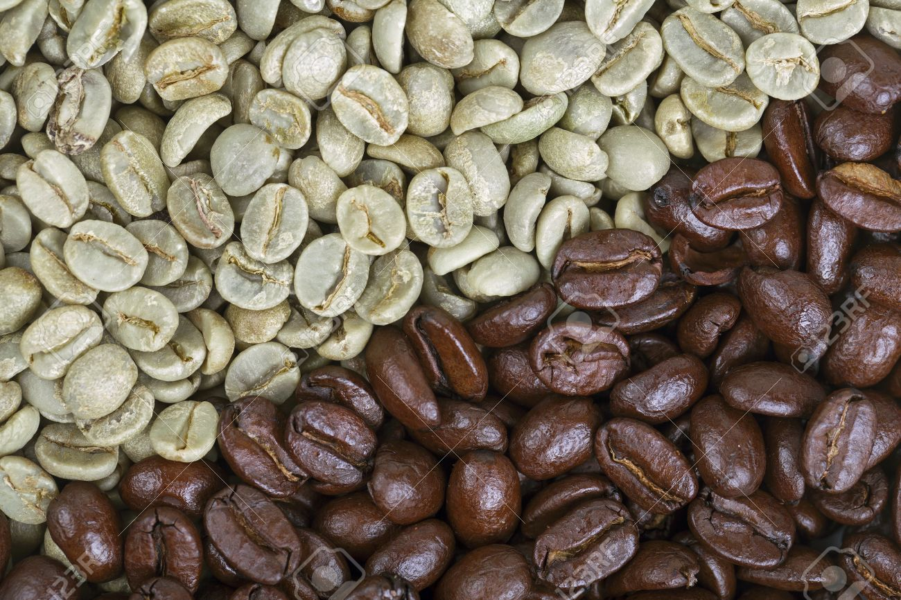 A Background Of Unroasted And Roasted Coffee Beans Showing The