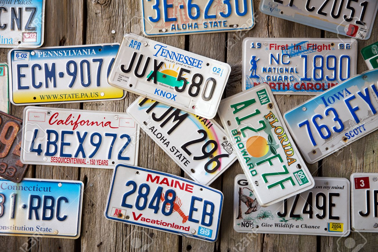 BAR HARBOR, MAINE, USA - AUGUST 28: Old Car License Plates Displayed ...