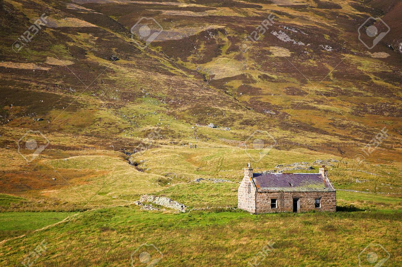 Derelict Stone Cottage In The Cairngorms Scottish Highlands Scotland UK Stock Photo