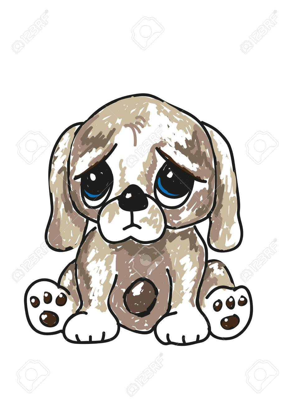 Sketch oh a cute sad looking cartoon puppy with big blue eyes vector format
