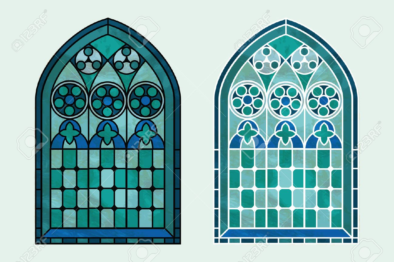 A Gothic Style Stained Glass Window In Cool Tones Of Blue Green And Turquoise