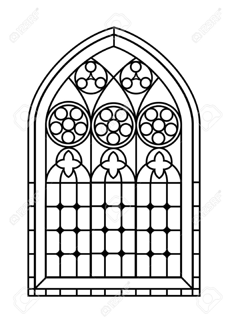 a gothic style stained glass window in black and white outline