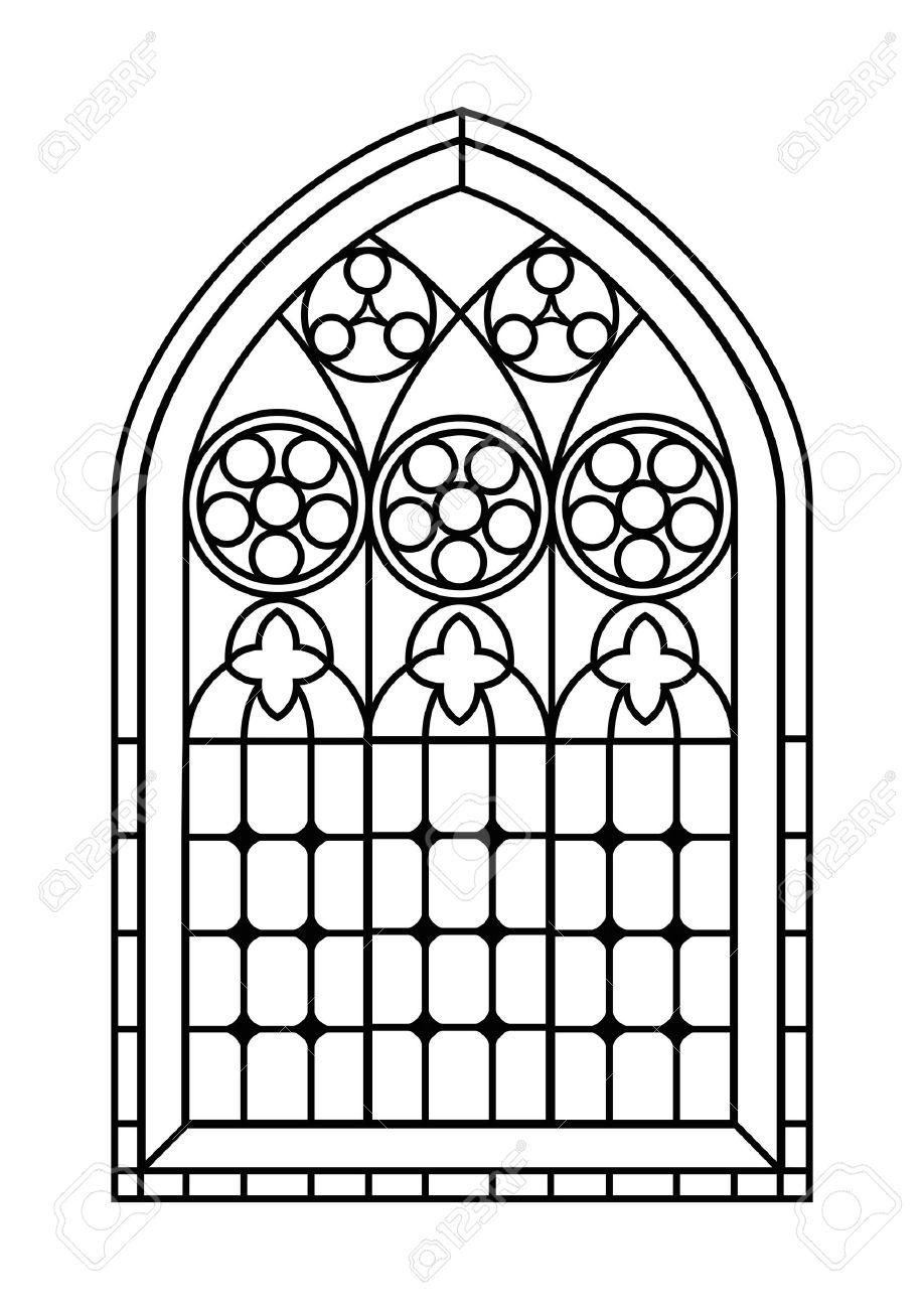 Un Vitral De Estilo Gótico En Blanco Y Negro Esquema De Dibujo Página De Actividades Para Colorear Eps10 Formato Vectorial